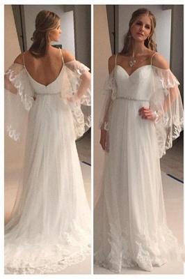 Spaghetti Straps Retro Wedding Dresses Sexy | See Through Backless Cheap Bridal Gowns BA0545_1