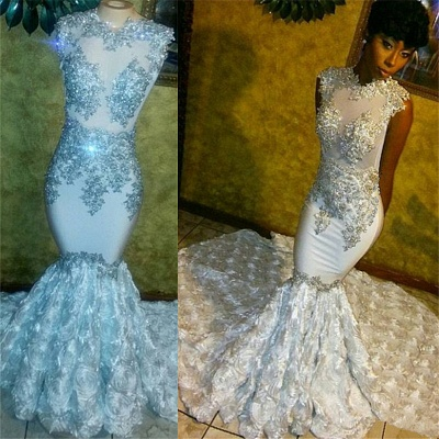 Beaded Lace Appliques Prom Dresses | Mermaid Flowers Sleeveless Sparkle Formal Gowns FB0294_3