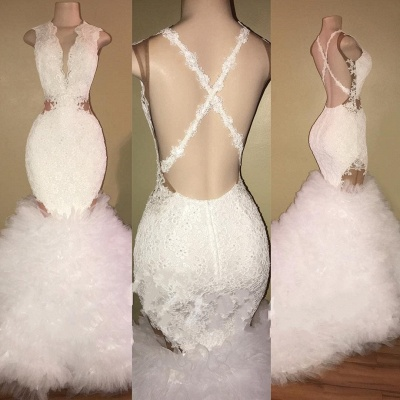 Lace Ruffles Sexy Mermaid Prom Dresses   Sleeveless V-neck Evening Gowns_3