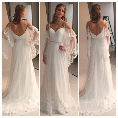 Spaghetti Straps Retro Wedding Dresses Sexy | See Through Backless Cheap Bridal Gowns BA0545_3