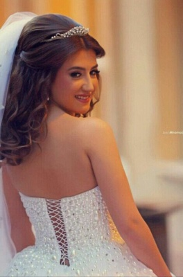 Sweetheart Appliques Ball Bridal GownNew Arrival Lace Up Elegant Wedding Dresses with Beadings_3