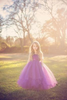 Purple Strapless Flower Girl Dresses Tulle Floor Length Girl Dresses_3