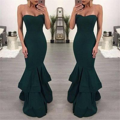 Modest Sleeveless Mermaid Ruffles Evening Gown | Front Split Evening Dress_4