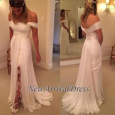 Lace Side Slit Chiffon Off The Shoulder Wedding Dresses Cheap_1