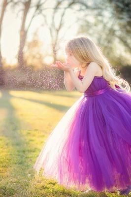 Purple Strapless Flower Girl Dresses Tulle Floor Length Girl Dresses_1