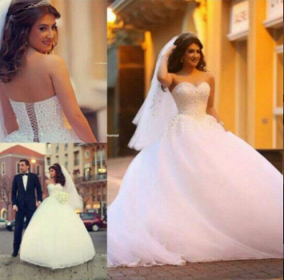 Sweetheart Appliques Ball Bridal GownNew Arrival Lace Up Elegant Wedding Dresses with Beadings_5