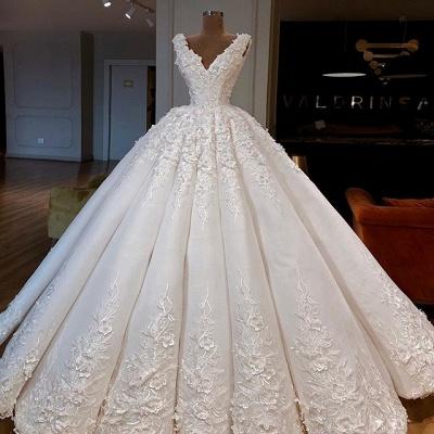 Glamorous V-Neck Sleeveless Wedding Dresses | Lace Bridal Ball Gowns 2019_3