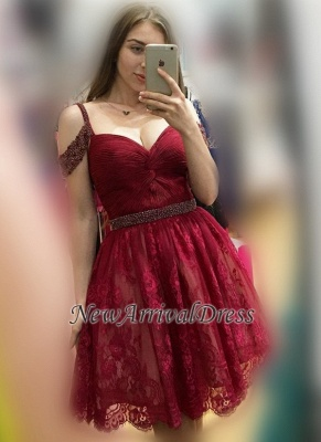 6c56d12d1c79 Sexy Burgundy Off-the-Shoulder Bead Lace A-line Homecoming Dresses |  Newarrivaldress.com
