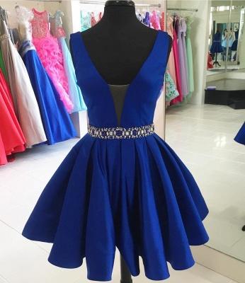 Cute Short Beading V-neck Sleeveless Homecoming Dress_3