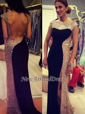 Crystal Backless New Sexy Long Side-Slit Evening Dresses_1