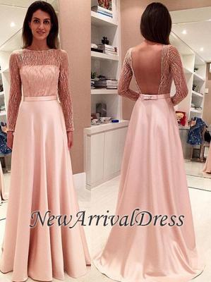 Bowknot Long Open-Back Long-Sleeve Glamorous Evening Dress_3