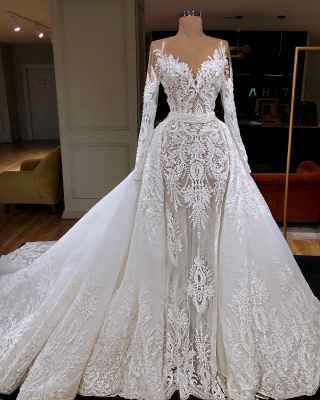 Long Sleeve See Through Tulle Wedding Dresses Cheap | Overskirt Lace Bridal Gowns Cheap 2019_3