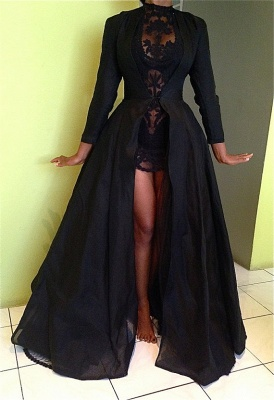 Black High Neck Long Sleeves Prom Dresses Lace Sexy Evening Dresses | Plus Size Prom Dress_1