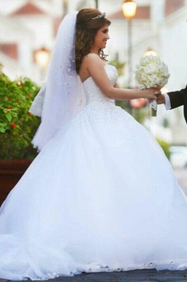 Sweetheart Appliques Ball Bridal GownNew Arrival Lace Up Elegant Wedding Dresses with Beadings_2