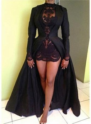 Black High Neck Long Sleeves Prom Dresses Lace Sexy Evening Dresses | Plus Size Prom Dress_4