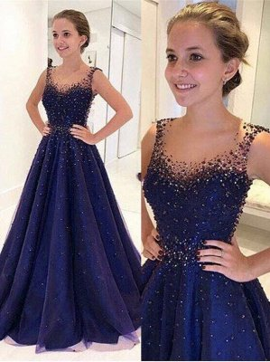 Elegant A-Line Beading Prom Dresses | Scoop Sleeveless Puffy Evening Dresses