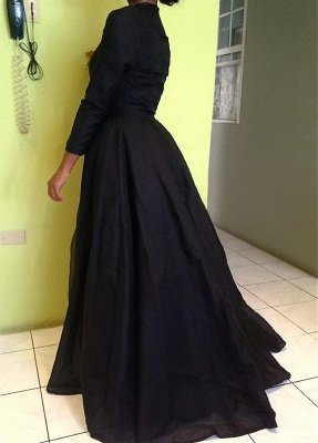 Black High Neck Long Sleeves Prom Dresses Lace Sexy Evening Dresses | Plus Size Prom Dress_2