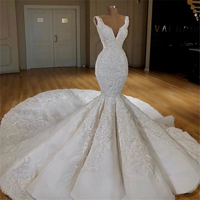 Elegant Mermaid Lace Wedding Dresses Online | Sleeveless Puffy Bridal Gowns 2019_2