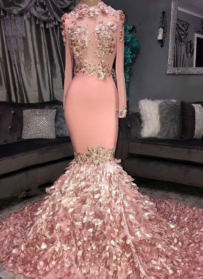 Glamorous Round Neck Flowers Long Sleeve Sequins Mermaid Long Prom Dresses Cheap_1