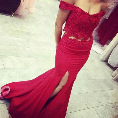 Newest Off-the-shoulder Two Piece Red Lace Beading Prom Dress_3