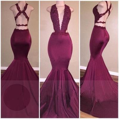 Mermaid Deep V-Neck Beads Cris-cross Back Long Prom Dresses Cheap_3
