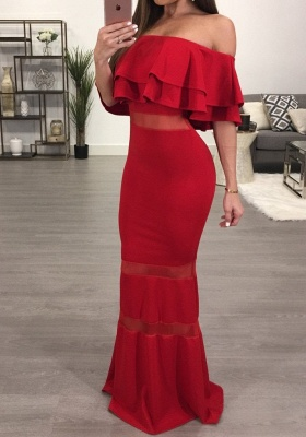 Sexy Red Off-the-shoulder Mermaid Evening Gown   Bodycon Evening Dress_1