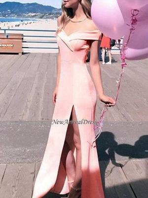 Sheath Elegant Long Off-The-Shoulder Side-Slit Prom Dresses_4