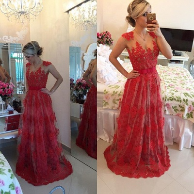 Sexy Red Pearls Lace Evening DressSheer Floor-Length BT0_2