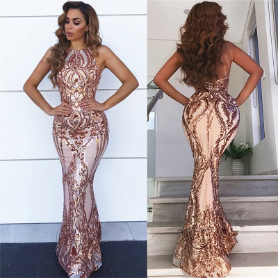 Sleeveless Open Back Sequins Prom Dresses Cheap 2020 | Sexy Spaghetti Straps Mermaid Champagne Evening Dress bc0506_3