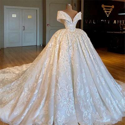 Gorgeous Off Shoulder Lace Wedding Dresses | 2019 Bridal Ball Gown Online_3