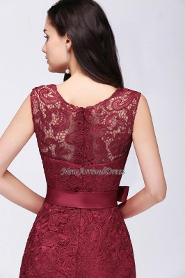 Floor-Length Sleeveless Burgundy Bowknot-Sash Mermaid Lace Prom Dresses_9