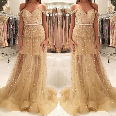 Tulle Prom Dresses Mermaid Sweetheart Off the Shoulder Appliques Formal Dress_3