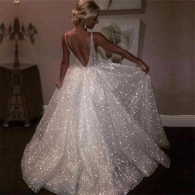 Sparkling Sequins Open Back Long Formal Dresses | Sleeveless Wedding Dresses_4
