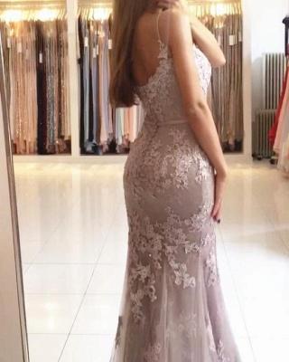 Modest Lace Spaghetti Strap Mermaid Evening Dress   Sleeveless Evening Gown_3