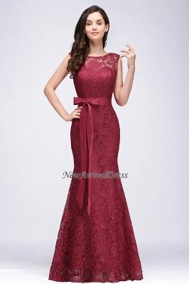 Floor-Length Sleeveless Burgundy Bowknot-Sash Mermaid Lace Prom Dresses_6