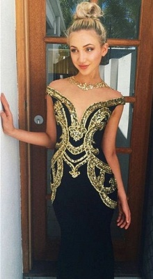 Gold Sequins Applique Black Mermaid Prom Dresses Crew Neck Beading Sheer Tulle Sexy Formal Evening Gowns_1