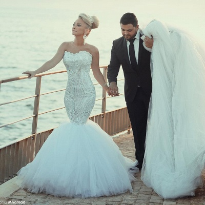 Crystal Beading Mermaid Tulle Wedding Dress with Detachable Train Luxurious Sweep Train Bridal Gowns MH045_2