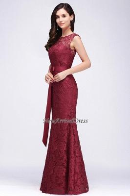 Floor-Length Sleeveless Burgundy Bowknot-Sash Mermaid Lace Prom Dresses_8