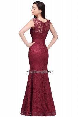 Floor-Length Sleeveless Burgundy Bowknot-Sash Mermaid Lace Prom Dresses_7