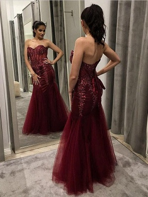 Mermaid Burgundy Tulle Appliques Sweetheart Long Prom Dress with Sequins_3