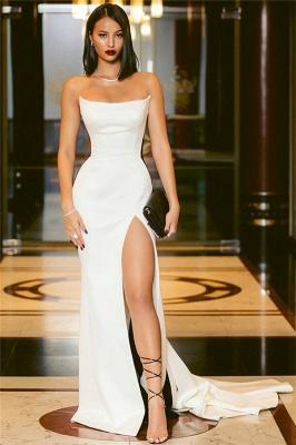 Strapless Long Side Slit Formal Dresses Cheap Online   Black White Sleeveless Cheap Formal Party Dress  BC0527_3