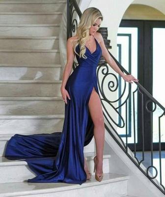 Royal Blue Close-fitting V-Neck Formal Dresses | Side Split Simple Formal Dresses_3