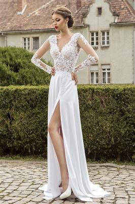 Most Popular Lace Chiffon Bridal Dress Appliques Side Slit Long Sleeve Sweep Train Wedding Dress_1