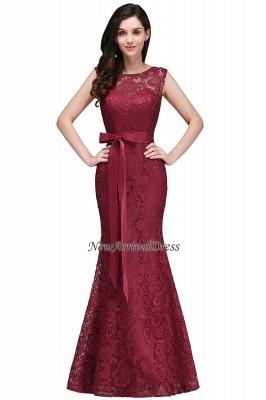 Floor-Length Sleeveless Burgundy Bowknot-Sash Mermaid Lace Prom Dresses_10