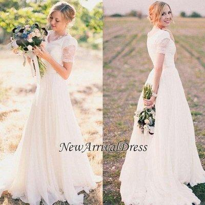 Popular Lace Chiffon Modest V-neck Short Sleeves A-line Wedding Dresses Cheap Online_1