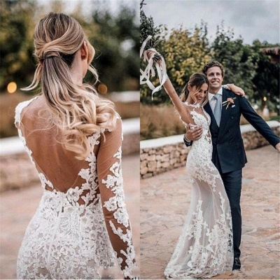 See Through Lace Beach Wedding Dresses Simple | Close-fitting Cheap Long Sleeve Outdoor Bridal Gowns_4