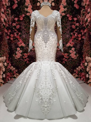 Sexy Crystals  Mermaid Bridal Gowns | Long Sleeve Chapel Train Wedding Dresses_1