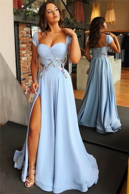 Open Back Blue Formal Evening Dress Long | Sexy Side Slit Online Prom Dresses Cheap bc1747_3