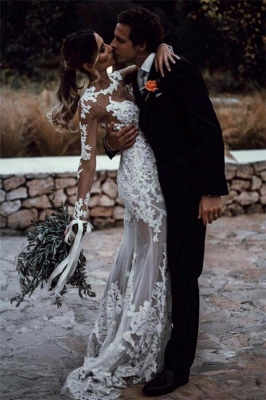 See Through Lace Beach Wedding Dresses Simple   Close-fitting Cheap Long Sleeve Outdoor Bridal Gowns_5