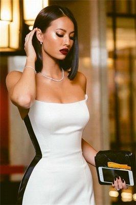 Strapless Long Side Slit Formal Dresses Cheap Online   Black White Sleeveless Cheap Formal Party Dress  BC0527_4
